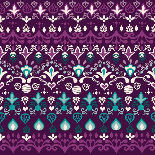 Tribal blue violet seamless background pattern vector