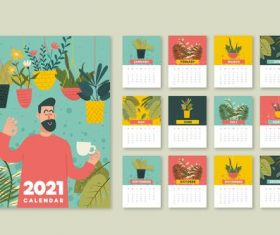 Tropical plant background 2021calendar vector
