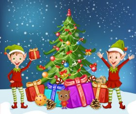 Two boys and christmas tree vector