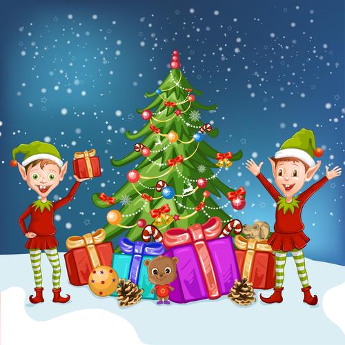Two boys and christmas tree vector