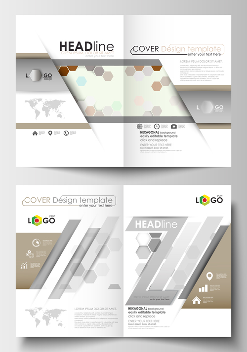 Two fold brochure flyer vector