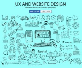 Ux and webaite design sketch concept vector