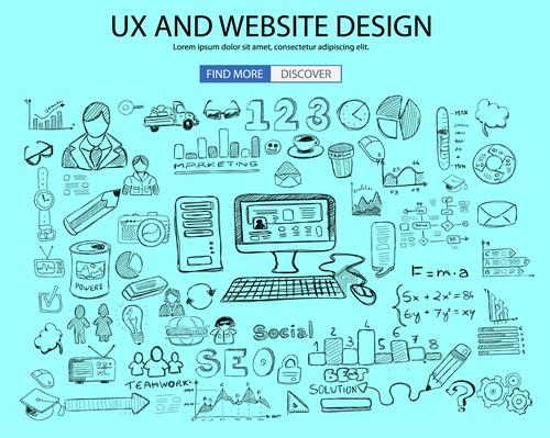 Ux and webaite design sketch concept vector