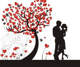 Valentine couple silhouette vector