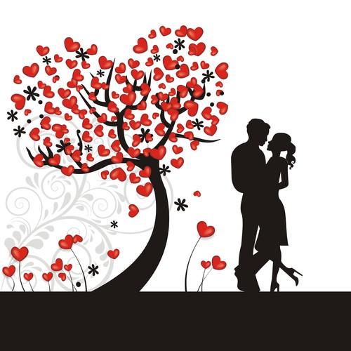Valentine couple silhouette vector