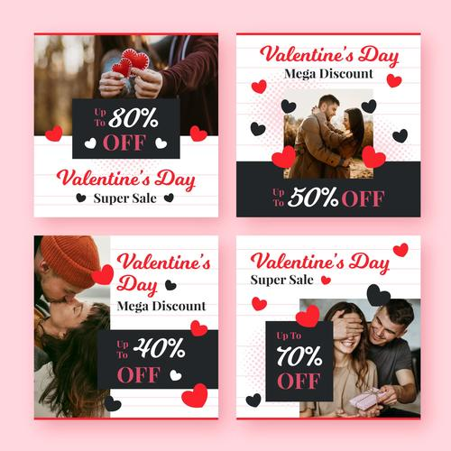 Valentines Day Holiday Sale Banner Vector