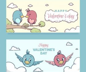 Valentines Day cartoon banner vector