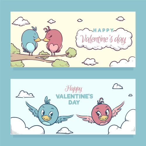 Valentines Day cartoon banner vector