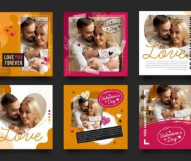 Valentines Day collection posts on instagram design vector