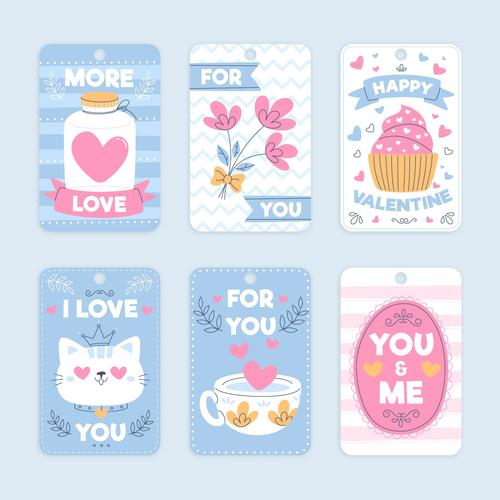 Valentines Day design collection romantic stickers vector