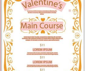 Valentine's Day restaurant poster vector