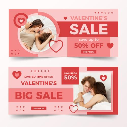 Valentines Day sale save poster vector