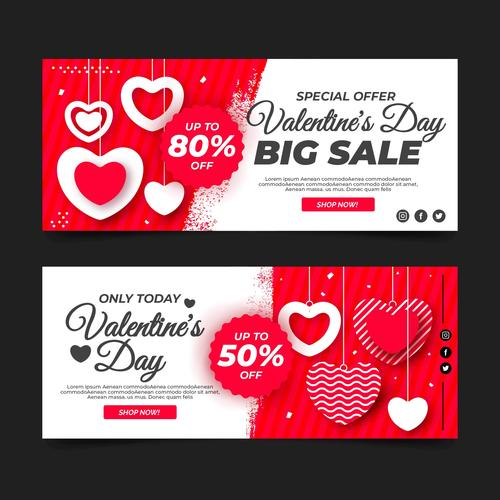 Valentines day big sale banner vector