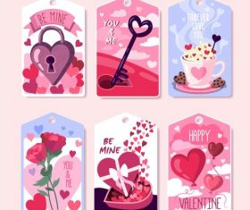 Valentine's day element label vector