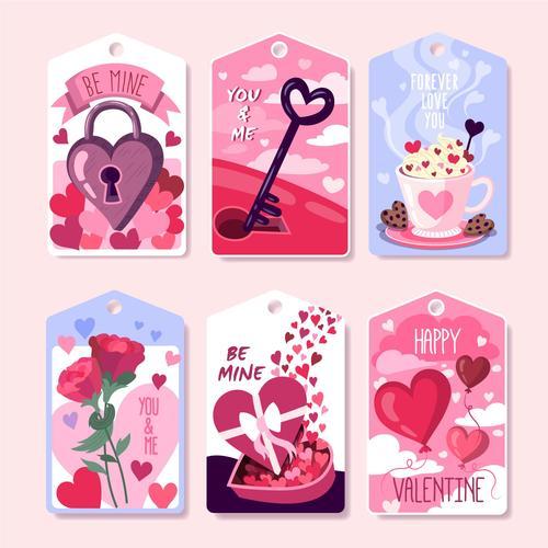 Valentines day element label vector