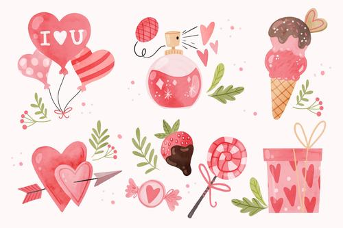 Valentines day gift watercolor illustration vector