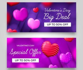 Valentines day half price sale banner vector