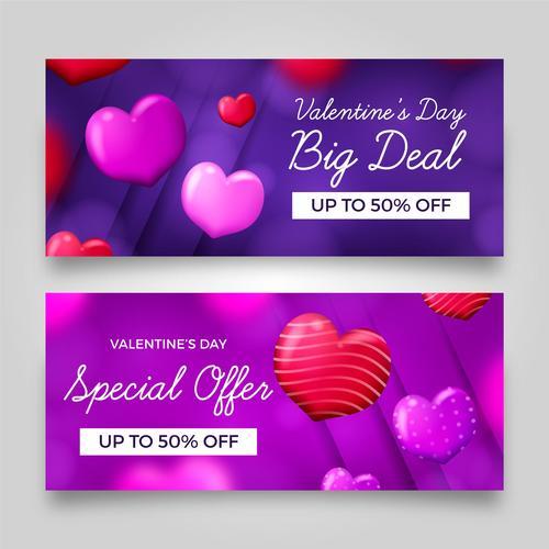 Valentines day half price sale banner vector