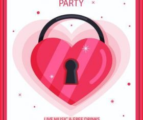 Valentine's day happy party poster vector
