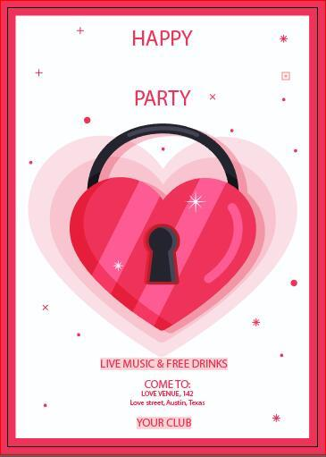Valentines day happy party poster vector