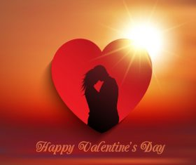 Valentines day heart and couple silhouette background vector