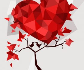 Valentines day paper cut art piece vector