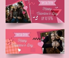 Valentines day sale horizontal banners with photo vector