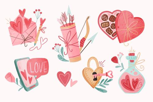 Valentines day watercolor illustration vector