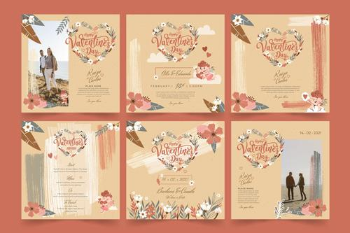 Various Valentines Day postcard vector