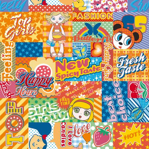 Various cartoon labels vector