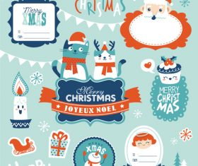 Various christmas stickers vector
