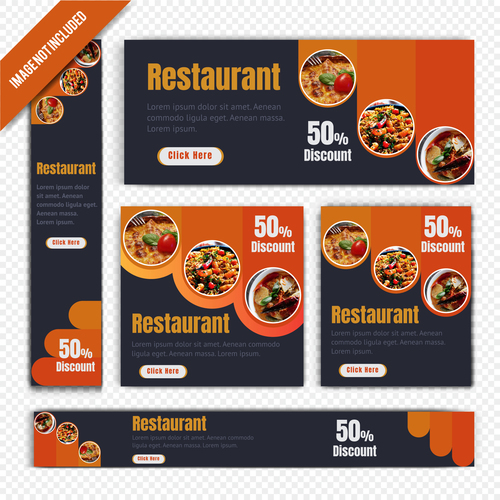 Various delicious food restaurant poster vector