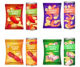 Various flavors potato chips poster vector