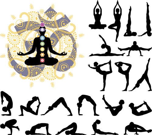 Various yoga posture silhouettes vector