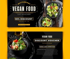 Vegan food discount voucher vector