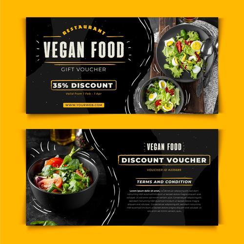 Vegan food discount voucher vector