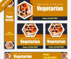 Vegetarian pizza restaurant poster vector