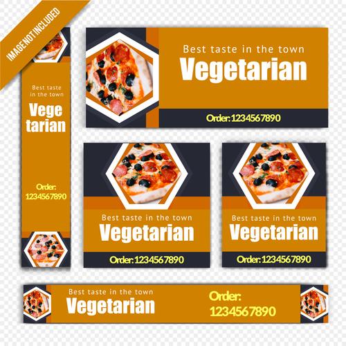 Vegetarian pizza restaurant poster vector