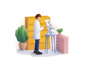 Veterinarian cartoon illustration vector