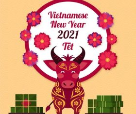 Vietnamese new year 2021 greeting card vector