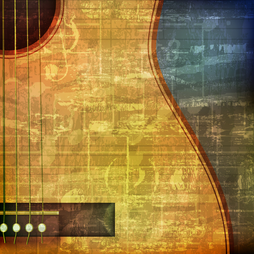 Vintage sound background with acoustic guitar vector
