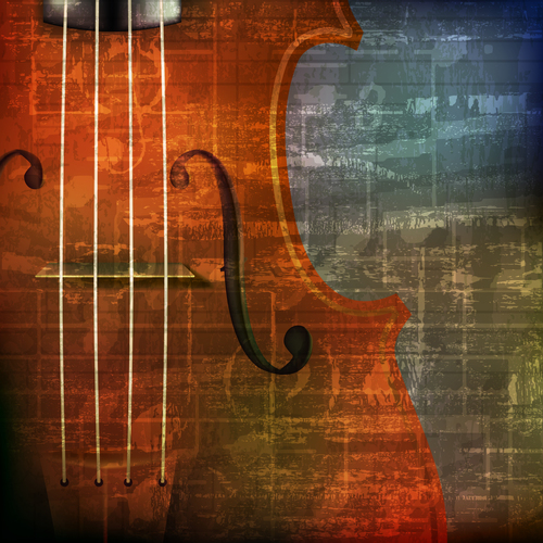 Vintage sound background with violin vector