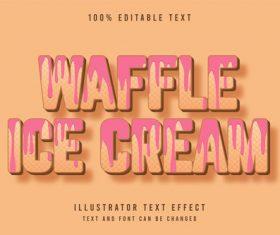 Waffle ice cream 3d editable text vector