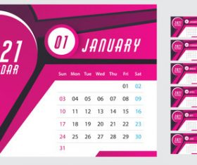 Wall calendar template 2021 vector
