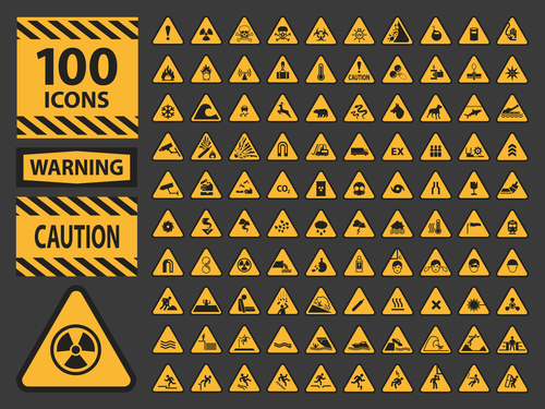 Warning icon set vector