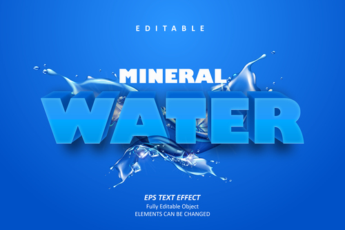 Water editable font effect text vector