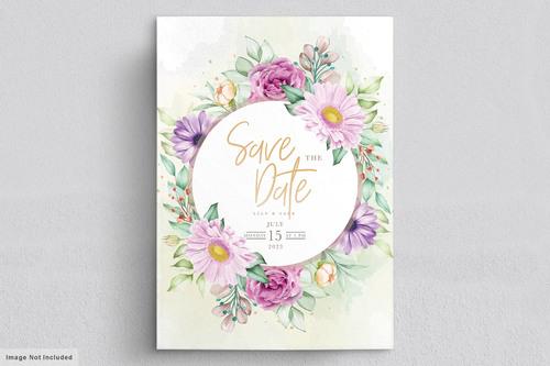 Watercolor flowers wedding card vector