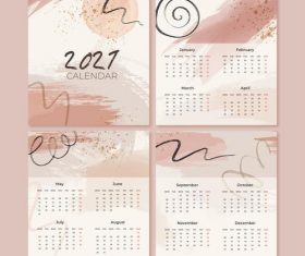 Watercolor new year 2021 calendar vector