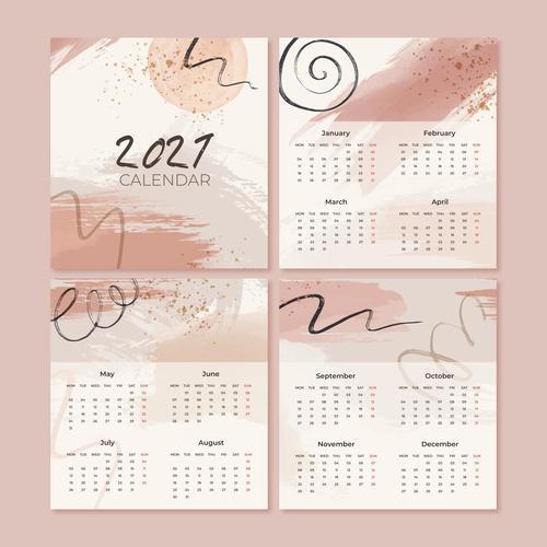 Watercolor new year 2021 calendar vector