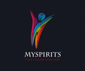 Watercolor spirits logo design vector